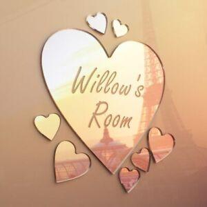 Heart Mirror Set Personalised Door Name Plaque Boy Girls Bed Room Sign