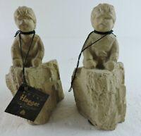 Lot of 2 Royal Haeger Pottery Boy Child Figurine Statue Sculpture