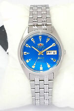ORIENT 3 Star Automatic Watch Mens SILVER tone Blue Dial FAB00009L9 New