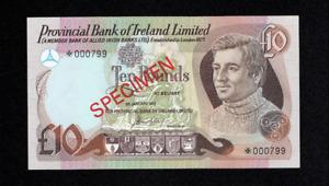 SPECIMEN PROVINCIAL BANK OF IRELAND TEN 10 POUNDS BANKNOTE IRISH BELFAST RARE