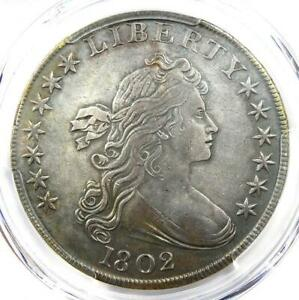 1802 Draped Bust Silver Dollar $1 Coin. Certified PCGS XF Detail (EF). Rare Date