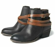 Size UK 7 Eu 40 H by Hudson Leather BLACK ANKLE BOOT Horrigan Buckled Shoe Boots