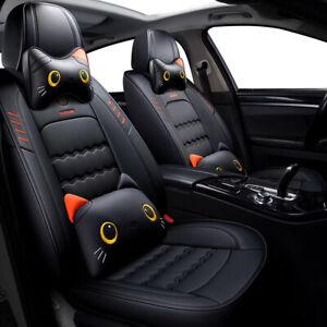 Cartoon Kitty Full Leather Car Seat Cover Volkswagen Passat Jetta Golf Tiguan
