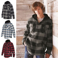 Burnside Mens Quilted Flannel Sherpa-lined Full-Zip Hooded Jacket - 8620