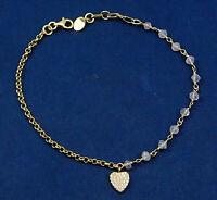 Solid 925 Sterling Silver Jewelry Rose Quartz CZ Gemstone Beads Bracelet KB1066