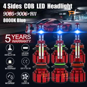9005 9006 H11 LED Combo Headlight Fog Light Kit High Low Beam Bulb Blue 8000K 6x