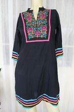 SIZE S STT BLACK EMBROIDERED BRIGHT FLORAL LONG SLEEVE DRESS 🍨POST ANY 5 FREE!