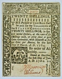 20 Twenty Shillings Tim Green 1780 New London Continental Currency Note 99c NR