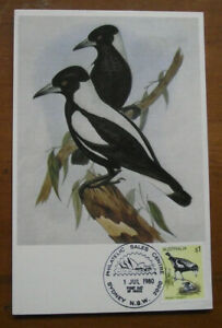 Retro Vintage Postcard: Australian Birds - Western Magpie, FDI, 1980