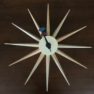 Mid-century Modern Furniture Sun Clock Natural Timber Retro Star Wall Clock