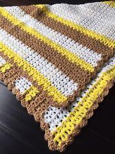 Handmade Baby Blanket Unisex Baby  Homemade Brown Yellow And White Blanket