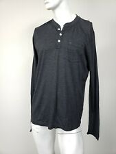 ABERCROMBIE & FITCH Moose Logo Pocket Cotton Henley Shirt Charcoal Gray XL NWT