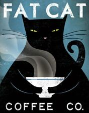 Fat Cat Coffee Co by Ryan Fowler Vintage Ads Cat Print 11x14