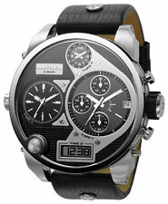 NEW AUTHENTIC DIESEL SBA OVERSIZED BLACK MR. DADDY CHRONOGRAPH MENS DZ7125 WATCH
