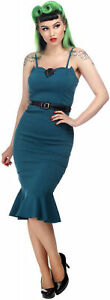 Collectif ALIE Retro MERMAID Sea Shell FISHTAIL PENCIL DRESS Kleid Rockabilly