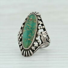Native American Pierced Thunderbird Turquoise Ring - Sterling Silver Size 5.75