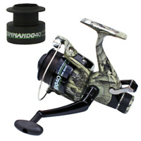 COMMANDO 40 CARP RUNNER FISHING REELS IN CAMO WITH 12LB LINE CARP FISHING TACKLE