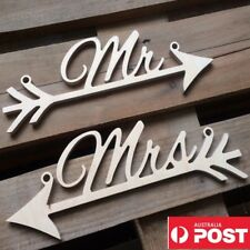 Mr And Mrs & Sign Wooden Wedding Arrow Prop Decoration Chair Hanging