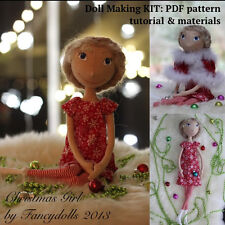 Doll Making Sewing Kit PATTERN TUTORIAL MATERIALS Christmas Girl diy