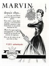 PUBLICITE MARVIN MONTRE POUR FEMME NOEL ART DECO DE 1950 FRENCH AD WATCH PUB