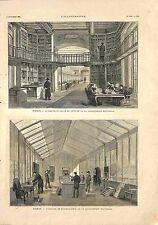 Paris Salle de Lecture Atelier Photographie Bibliothèque Nationale GRAVURE 1881