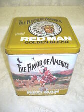 VINTAGE RED MAN TOBACCO GOLDEN BLEND TIN BOX WITH YELLOW LID