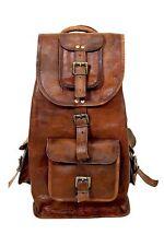New Large Vintage Style Real Genuine Leather Bag Rucksack Backpack Dark Brown