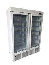 More details for commercial double door display freezer, upright white glass 2 door freezer
