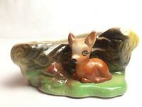 Vintage Deer By Tree Stump Planter East gate Pottery Fauna Withernsea England