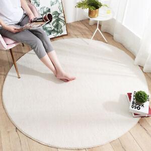 Round Solid Rug Living Room Floor Mat Carpet Sofa Non Slip Bedroom Bedside Mats