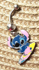 Lilo & Stitch Surf boarding Sparkle  Belly Ring Navel Ring 14G Surgical Steel