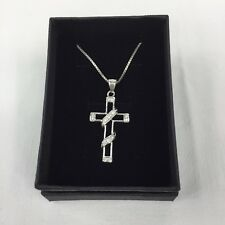 Sterling Silver 925 CZ Open Cross Crucifix Pendant 4.2cm(L) + 47cm Chain Boxed