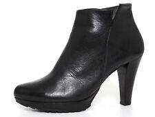 Paul Green High Heel Leather Bootie Black Women Sz 6 UK 5176*