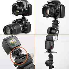 "Metal Pro 1/4"" Dual Nuts Tripod Mount Screw To Flash Camera Hot Shoe Adapter AU"