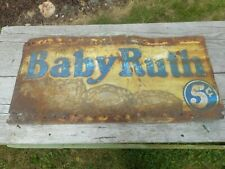 Vintage Curtiss 5 Cent BABY RUTH Candy Bar Tin Tacker Advertising SIGN