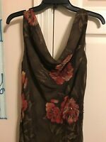 Womens Brown Mlle Gabrielle Dress, Orange Flowers, Large