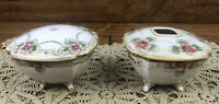 Vintage Nippon Hand Painted Porcelain Hair Receiver And Powder Jar Dresser Set