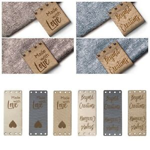 Personalised 20mmx50mm Rectangle Faux Leather Foldable Product Tags Label Sew in