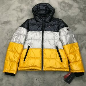 New Tommy Hilfiger Mens Pearlized Performance Hooded Puffer Jacket Mens Small