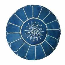 SALE! Moroccan Genuine Leather Boho Pouf Ottoman Footstool Pouffe Blue pouf
