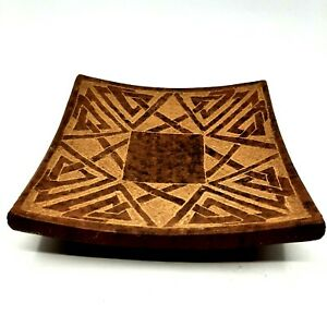 """Knotwork Candle Holder Pottery Curved Square Ceramic 4.75"""""""