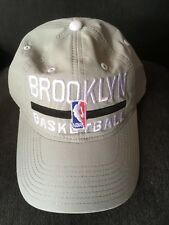 BROOKLYN NETS ADIDAS HAT PRACTICE SLOUCH CAP NBA BASKETBALL GREY ADJUSTABLE SIZE