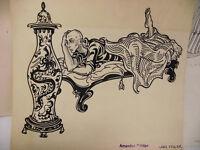 Original Illustration von Eleonore (Lore) Vogler, signiert, liegender Mann