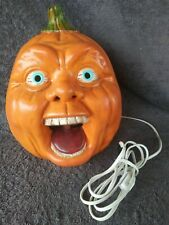 Vtg 1990s Ceramic Halloween Pumpkin Horrer Face Light Up Jack-o-Lantern