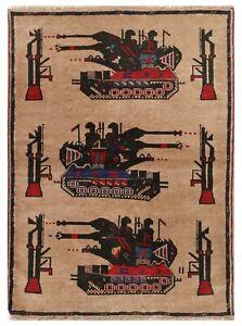6672 # ALLRUGO - Handmade Afghan War Rug 100% Wool Home Decor Rug 137 x 98 cm