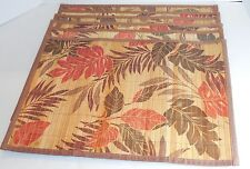 """BAMBOO PLACEMAT SET OF 6 13"""" X 19""""  RED & BROWN LEAVES FALL OR AUTUMN PLACEMATS"""