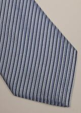 GIORGIO ARMANI TIE WOVEN SILK STRIPED NAVY SKY BLUE DESIGNER MEN