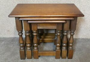 Wood Bros Old Charm Nest of Tables Light Oak 1494
