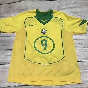 BRAZIL 2004 2006 HOME FOOTBALL JERSEY NIKE VINTAGE CAMISETA RONALDO #9 Womens LG