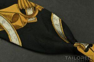 """HERMES SCARF PRINT Black Geometric 100% Silk Mens Luxury Tie - 3.50"""""""